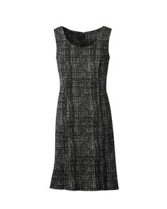 @39.99 Check print ponte dress  Was $99.95 - $109.95  |  Now $39.99  Read reviews (11)   |   Write a review  Designed to make you look good – a sheath dress with hourglass shaping in a notably soft ponte knit. The modern check print adapts to multiple options: a bright cardigan, a wide belt with tall boots or your best pumps, or simply on its figure-flattering own. Hidden back zip, unlined. Falls to knee length. Polyester, rayon, spandex; dry clean. Imported.