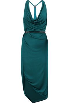 Halston HeritageLeather-trimmed draped satin-jersey dress
