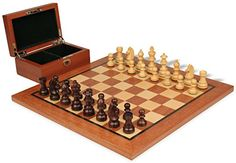 German Knight Staunton Chess Set in Rosewood Boxwood with Mahogany Chess Board  Box 275 King -- Check this awesome product by going to the link at the image.
