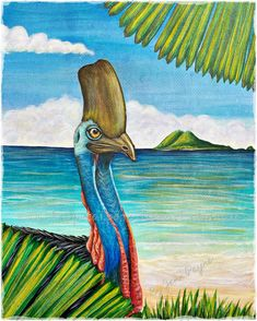 Acrylic on canvas. The Cassowary quite often visits the beach here at Mission Beach.