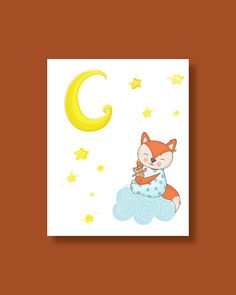 Fox Nursery Art Print Baby Fox Moon Sleeping by HappyLittleBeans Fox Nursery, Nursery Art, Nursery Decor, Diy Sewing Projects, Moon Art, Baby Prints, Stars And Moon, Art For Kids, Handmade Gifts