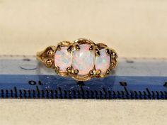 Estate Designer 10K Yellow Gold Colorful ~ 1 TCW Natural 3 Opal Ring 6.75 #ThreeStone