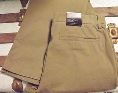 #BananaRepublic Brown #Chino Pants NWT #Bootcut Flat Front Men's Size 36x34