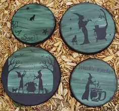 Primitive Witch Stovetop stove oven Burner Covers Halloween Decorations Witchcraft Tea Cat Sit a Spell Witches magic Home Decor Wicca Handpainted Folk Art Witch Farmhouse Country by SleepyHollowPrims, $49.50 USD