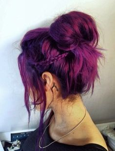 Messy Bun Purple Hairstyle  Brown Into This Colour As An Ombre
