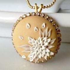Basic Beige  NECKLACE  clay embroidery & rhinestone by Anca Pe'elma, $38.00