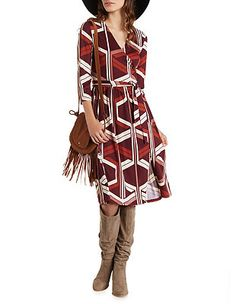 Geometric Print Midi Wrap Dress: Charlotte Russe