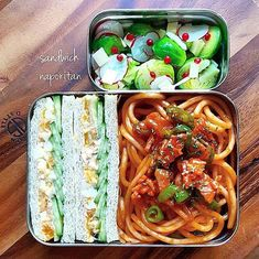 Egg salad sandwich bento box, featuring spaghetti Neapolitan, and a Brussels sprout & radish salad