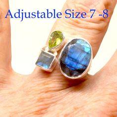 Labradorite Peridot Ring   925 Sterling Silver   3 stones   Adjustable Size 7 -8   Sagittarius Scorpio Leo Stone   Crystal Heart Melbourne Australia since 1986