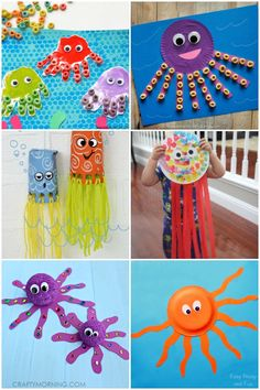 16 Fun Octopus Crafts & Activities- great for an ocean or under the sea theme. Sea Activities, Craft Activities For Kids, Preschool Crafts, Indoor Activities, Kid Crafts, Easter Crafts, Crafts For Kids To Make, Projects For Kids, Art For Kids