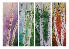 Large Painting Birch Seasons 4 Panel by ThienArt on Etsy