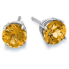 Blue Nile Citrine Stud Earrings in 18k White Gold (7mm) found on Polyvore featuring polyvore, fashion, jewelry, earrings, citrine jewelry, white gold jewelry, 18k earrings, orange earrings and 18 karat gold earrings