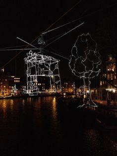Amsterdam Light Festival. Cityscape in Wires. Pretty. Amsterdam, December 2013.