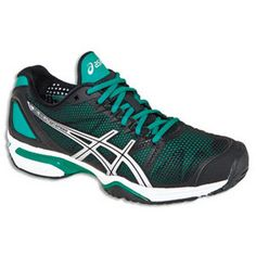ASICS WOMENS GEL SOLUTION SPEED SHOES BLK/AQUA--my beautiful tennis shoes <3CAT<3 I play mainly on hard-tru and hard surface courts and these shoes hold up great on both surfaces! After using playing multiple times a week and having them for over a year already there is barely any wear on the sole! Great tennis shoe!