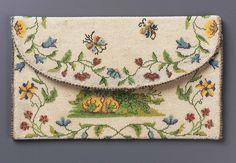 1725-1775, France - Pocketbook - Glass beads strung on linen (sablé), woven silk and metallic binding; sablé