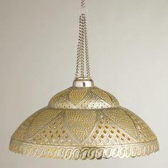 """WorldMarket.com: Sunshine Punched Pendant Lamp $59.99 ◾Handcrafted of iron with pewter exterior finish and yellow interior finish ◾Use with our Electrical Cord Swag Kit or Electrical Ceiling Hardware Kit sold separately ◾Includes 23""""L chain with hook for hanging"""