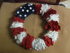 4th of July Fabric Wreath @ multi cultural crafts  I like the use of different color fabrics.
