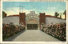 Entrance to Rainbow Gardens, Waldameer Park  Erie, PA  Postmark/Cancel:  1936 Nov-4  Erie, PA