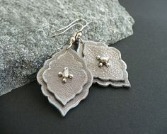 Leather earrings in silver Arabesque leaf boho by MoonsafariBeads, $31.00
