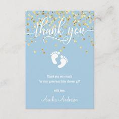 Custom Blue Gold THANK YOU Baby Shower BOY | PHOTO Thank You Greeting Cards, Baby Shower Thank You Cards, Custom Thank You Cards, Thank You Note Cards, Custom Cards, Baby Cards, Pop Baby Showers, Baby Shower Fun, Baby Shower Themes