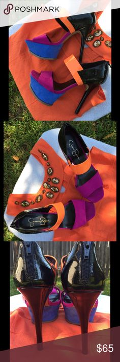"""💋NWOT Beautiful Jessica Simpson Heels💋 These NWOT hot heels were only used for a pregnancy photo shoot. The fuchsia and blue is suede and the orange and black are patent. The heels are 5.5"""" and the platform is 2"""". (The dress is listed separately 👀) Jessica Simpson Shoes Heels"""