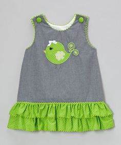 Loving this Black Gingham Clover Bird Ruffle Jumper - Infant, Toddler & Girls on #zulily! #zulilyfinds
