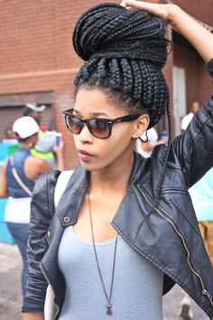 Box braids bun