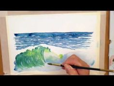 Simple landscape painting ideas pictures to paint on canvas for Watercolor Ocean, Watercolor Art Lessons, Watercolor Video, Watercolor Painting Techniques, Watercolor Projects, Watercolour Tutorials, Watercolor Landscape, Painting & Drawing, Landscape Paintings