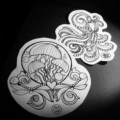 Under the sea  #valesom #artwork #creative #Draw #drawing #art #artist #flashwork #flashtattoo #dublin #dublintattoo #italianart #myart #mystyle #artistmafia #tattoos #instagood #sea #fish #octopus #jellyfish #art #picoftheday #illustration #neotraditional #victorian #apprenticesig #tattooappentrice #apprentice