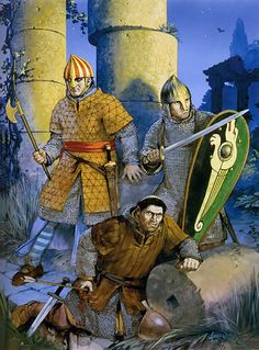 """""""Norman warriors in Muslim Sicily, century"""" Angus McBride Medieval World, Medieval Knight, Medieval Fantasy, Norman Knight, Kingdom Of Jerusalem, Les Runes, Renaissance Time, High Middle Ages, Germanic Tribes"""