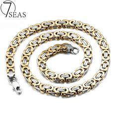 7SEAS Personality Men's Byzantine Necklaces Rock & Punk Style Silver/Gold Colors Link Chain Male Jewelry Necklace Gifts 7S330 #Affiliate