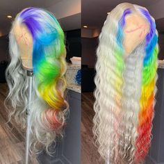 Quality virgin human hair & extensions trusted & recommended by stylists, and backed by the only return policy in the industry. Try Mayvenn hair today! Baddie Hairstyles, Weave Hairstyles, Hair Colorful, Curly Hair Styles, Natural Hair Styles, Rainbow Wig, Creative Hair Color, Blonde Lace Front Wigs, Lace Hair