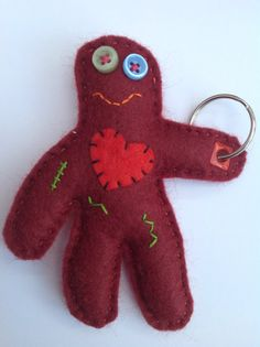 This item is unavailable Button Eyes, Heart Button, Felt Keyring, His Hands, Hanging Out, Hand Sewing, Dinosaur Stuffed Animal, Applique, Child Friendly