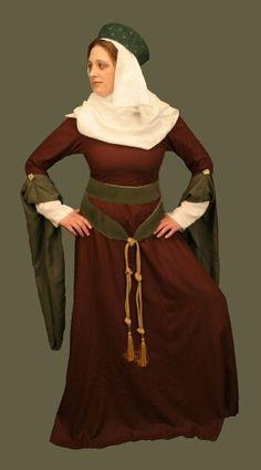 SIMPLE High Medieval Pendant Sleeve Gown Full Wardrobe Linen Veil Linen Barbette Linen Pendant Sleeved Gown Linen Underdress Reversible Silk Double Wrap Belt Linen Stockings Garters