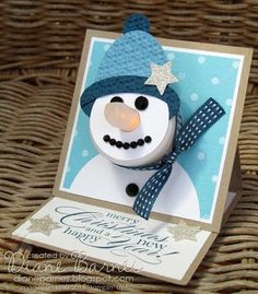 Stampin Up Christmas snowman tealight easel card by Di Barnes – colourmehappy – Christmas DIY Holiday Cards Stampin Up Christmas, Christmas Snowman, Handmade Christmas, Christmas Projects, Holiday Crafts, Snowman Cards, Easel Cards, Winter Cards, Xmas Cards