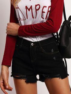 Black+Fringe+Denim+Slim+Shorts+15.99