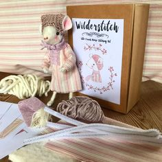 Make you very own little mouse with this perfect kit. Basic sewing and basic knitting knowledge required. Suitable for children age 12 plus Mollie Makes, Pink Blossom, Antique Lace, Stitch Kit, Sewing Basics, Watercolor Illustration, Pretty In Pink, Hand Knitting, Hand Painted