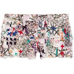 Isabel Marant Roxi embroidered printed stretch-denim shorts (335 AUD) ❤ liked on Polyvore featuring shorts, bottoms, pants, isabel marant, isabel marant shorts, multi colored shorts, stretch denim shorts, embroidered shorts and lightweight shorts