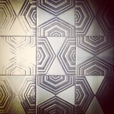 "KISMET TILE OPTIGON pattern ceramic tile 8"" x 8"" Punch, Floors, Tiles, Surface, House Design, Ceramics, Popular, Board, Fabric"