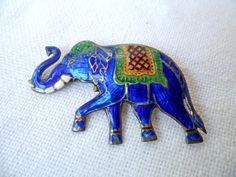 Siam Cobalt Blue Enamel Cloisonne' on Sterling Silver Elephant Brooch