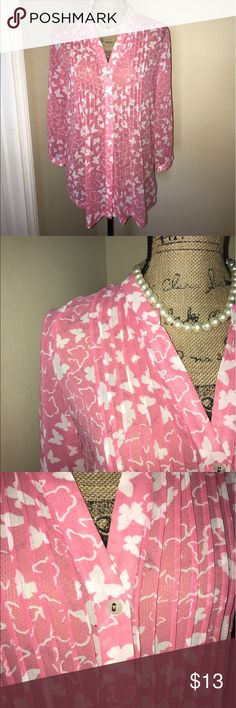 Charter Club Pink and white Button Down Blouse Charter Club Pink and white Button Down Blouse with Pleated front. Charter Club Tops Blouses