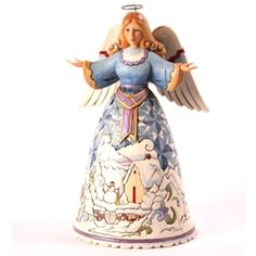 Jim Shore Winter's Wonders-Angel With Winter Scene Figurine