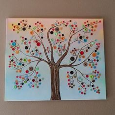 This button tree wall art is made from four canvases, paint and colorful buttons. Get step by step instructions so you can make button tree wall art too! Kids Crafts, Cute Crafts, Crafts To Do, Craft Projects, Arts And Crafts, Craft Ideas, Easter Crafts, Christmas Crafts, Easter Gift