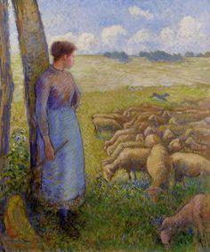 Camille Pissarro「Shepherdess and Sheep」