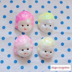 ・゜・☆。・゜。・。・゜・☆。・゜。・。・゜・☆。・゜。・。・゜・☆。♪林檎手芸店オリジナル♪蛍光ピンク&イエローの髪がキュート♥ パール調の塗...|ハンドメイド、手作り、手仕事品の通販・販売・購入ならCreema。