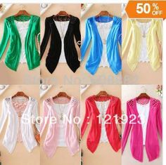 2013 fashion Free shopping ON SALE !Women Lace Sweet Candy Color Crochet Knit Blouse Sweater Cardigan QC0003 $5.85