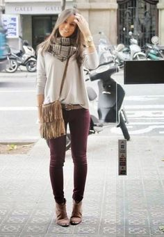 Love the color pallet, plaid scarf, maroon pants, brown booties, cream relaxed fit sweater.