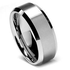 Tungsten Ring Direct - Tungsten Ring for Men, Flat Brush Top Finish, High Polish Step Edge, 8MM, $24.99 (http://www.tungstenringdirect.com/tungsten-ring-for-men-flat-brush-top-finish-high-polish-step-edge-8mm/)