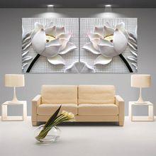Moderno 3D loto blanco definición cuadros cuadros de lona Impresión de la pintura de Pared Decoración Del Hogar salón modular (sin marco) 2 unids(China (Mainland))