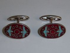 Red Enamel Russian Vintage Cufflinks. Abstract Folk Cufflinks.